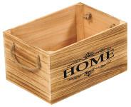 """Kesper Aufbewahrungsbox aus Paulowniaholz, 30 x 20 x 16 cm, FSC-zertifiziert, Schrifzug """"Home"""", mittel-große Ausführung mit 2 Griffschlaufen"""