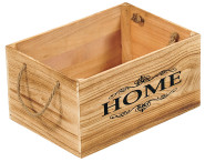 "Kesper Aufbewahrungsbox aus Paulowniaholz, 35 x 25 x 18 cm, FSC-zertifiziert, Schrifzug ""Home"", große Ausführung mit 2 Griffschlaufen"