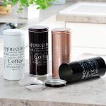Kesper Aufbewahrungsdose, für Kaffeepads, Küchendose, aus Metall, Höhe: 175 mm, Durchmesser: 80 mm, sortiert