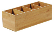 Kesper Bambus Besteckkasten mit 4 Fächer, FSC Holz, mobiler Besteck Behälter 35 x 12 x 14 cm, Besteckbox Bambus