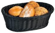 Kesper Brot-Obstkorb aus Vollkunststof Geflecht, 32,5 x 24x 11 cm, oval, in schwarz
