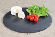 3 Stück Kesper Buffet-Platte, Servierplatte, Schieferplatte, rund, geölt, Höhe: 9 mm, Ø 355 mm, in schwarz
