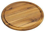 Kesper Fleischteller aus Akazienholz, FSC-zertifiziert, rund, mit Saftrinne, Ø 25 x 1,5 cm