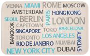 Kesper Frühstücksbrettchen World Cities aus Melamin, 23,5 x 14,5 cm, Schneidebrett mit 4 Elastikfüßen, spülmaschinengeeignet, Schneidebrett Kunststoff