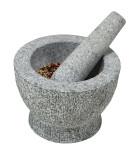 Kesper Granit-Mörser mit Schlegel, Stößer Höhe: 120 mm, Ø 180 mm, in grau