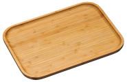 Kesper Großes Servierbrett aus Bambus, 37,5 x 27,5 x 2 cm, FSC-zertifiziert, Serviertablett erhöhtem Rand