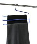 Kesper Hosenbügel, Hosenständer, Hosenhalter, für 3 Hosen, 2er Pack, aus Metall und Kunststoff, Maße: ca. 8 x 330 mm, in blau