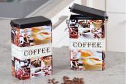 Kesper Kaffeedose, Aufbewahrungsdose, Metalldose, Küchendose, eckig, Maße: 140 x 85 x 195 mm, sortierte Motive, 1 Stück
