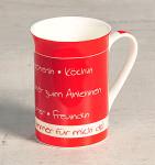 "Kesper Kaffeetasse, Teetasse ""Mama du bist immer für mich da!"", Ø 7,5 cm, Höhe 10,6 cm, aus Porzellan, spülmaschinengeeignet, ca. 250 ml"