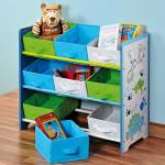 Kesper Kinder-Aufbewahrungsregal mit 9 Textilschubladen, mit dem Motiv Dino, B 66 x H 59,5 x T 30 cm