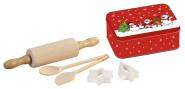Kesper Kinderbackset, Teigrolle, 2 Löffel, 2 Stechformen, Keksdose, aus Buchenholz/Metall, FSC-zertifiziert
