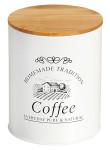 Kesper Kleine Dose für Kaffee im Landhaus Design, Ø 11 cm, Höhe 13,5 cm, aus Metall mit Holzdeckel, luftdicht verschließbare Aufbewahrungsdose