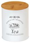 Kesper Kleine Dose für Tee im Landhaus Design, Ø 11 cm, Höhe 13,5 cm, aus Metall mit Holzdeckel, luftdicht verschließbare Aufbewahrungsdose