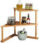 Kesper Küchen-Eck-Regal mit 2 Etagen B52 x T39 x H29,5 cm, aus FSC Bambus, Holz Küchenregal für Gewürze, Standregal für Küchenhelfer