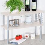 Kesper Küchen-Regal 2 Ebenen, 55 x 38 x 20 cm, Küchen Ablage, Spülbecken-Regal/-Schrank, Aufbewahrungs Schränkchen, Metall-Gestell/-Gitter, Holz weiß