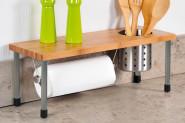 Kesper Küchenregal mit Rollenhalter, 50 x 21,5 x 20 cm, Metallrohr Ø 19 mm, Regal aus Metall/Bambus, herausnehmbare Dose (Ø 12,5 cm) für Küchenhelfer