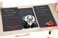 Kesper Multi-Glasschneideplatte, 2er Pack, Motiv: Chili, Kochfeldabdeckung für Glaskeramikplatten, Maße: ca.520 x 300 x 9 mm