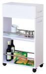Kesper Nischenregal mit Schublade 24 x H85 x 50 cm, 2 Ablage Böden FSC-Holz melaminbeschichtet, mobiler Küchenwagen weiß auf 4 Rollen