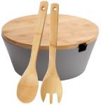 Kesper Obst- & Salatschale mit Besteck & Deckel aus Bambus Ø 26 cm, Höhe 11 cm, Salat Schüssel aus Melamin, große Servierschale, grau