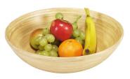 Kesper Obst-und Gebäckschale, Holzschale, Servierschale, helles Bambus, Ø 25 x H8 cm, Holzmaserung, Bambusschale, sehr leichte Gebäck Schale