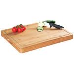 Kesper Profi-Tranchierbrett mit Saftrinne, 50 x 40 x 5 cm, Schneidbrett aus Bambus, Küchenbrett mit Griffmulden, FSC-zertifiziert