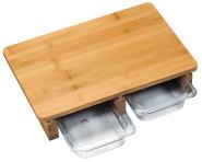 Kesper Schneidebrett mit 2 Auffangschalen, 41 x 26,5 x 8 cm, Schalen-Einzelmaß: 26,5 x 16 cm, aus Kunststoff/FSC-zertifiziertem Bambus