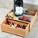 Kesper Schublade für Kaffee-Kapseln, 30 x 31 x 10 cm, aus Bambus, mit Abdeck-Sicherheitsglasplatte, Abstellfläche für Kaffeemaschine, mit 8 Fächern