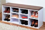Kesper Schuhschrank mit Sitzkissen, 103,5 x 48 x 29,5 cm, für Stiefel und Schuhe, 2 variable, 6 feste Fächer, FSC-zertifizierte MDF, weiß lackiert