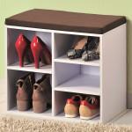 Kesper Schuhschrank mit Sitzkissen, 51,5 x 48 x 29,5 cm, 1 variables Fach, für Stiefel, Schuhe, Sandalen, aus weißer, FSC-zertifizierter Spanplatte