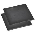 4 Stück Kesper Servierplatte, Schieferplatte, Buffet-Platte, (2 x 2er Pack), geölt, Maße: ca. 200 x 200 mm, in schwarz