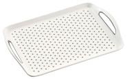 Kesper Serviertablett aus Kunststoff, rutschhemmend, weiß, 45,5 x 32 x 4,5 cm