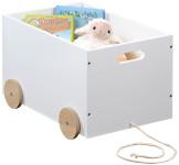 Kesper Spielzeugkiste mit Rollen, 50 x 35 x H30 cm, FSC, weiß lackiert