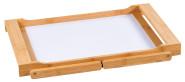 Kesper Tablett mit Klappfüßen, 54,5 x 33 x 23 cm, aus FSC-zertifiziertem Bambus/MDF, weiß beschichtet, Frühstückstablett