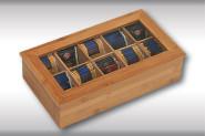 Kesper Teebox, mit 10 Fächern, Teeschachtel, Teeaufbewahrung, aus FSC®-Bambus, Maße: 360 x 200 x 90 mm