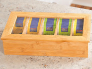 Kesper Teebox mit 5 Fächern für Teebeutel Aufbewahrung, 36 x 20 x 9 cm, FSC®-zertifiziertes Bambus mit Sichtdeckel, Tee Dose Lagerung Holz
