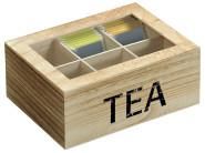 Kesper Teebox mit Sichtfenster, 6 Fächer, 22 x 16 cm, Höhe 9 cm, Paulowniaholz, Tee Aufbewahrung, braun