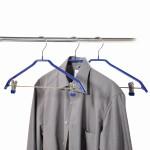 Kesper Universal-Kleiderbügel, Kleiderbügel mit Klemmen, Klemmbügel, 3er Pack, aus Metall/Kunststoff, 15 x 460 mm, blau
