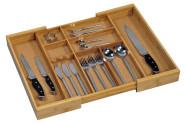Kesper Variabler Besteckkasten, Besteckeinsatz, Schubladeneinsatz, mit Kork, Maße: ca. 350-580 mm ausziehbar