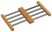 Kesper Variabler Topfuntersetzer aus Edelstahl/Bambus (FSC-zertifiziert), 22,5 - 36,5 x 20 x 2 cm, ausziehbare Unterlage für Töpfe und Pfannen