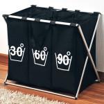 Kesper Wäschesortierer aus Polyester in schwarz, mit Temperaturmotiv, 63 x 57 x 38 cm