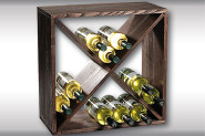 Kesper Weinflaschen-Regalsystem, Flaschenregalsystem, Flaschenhalter, aus FSC®- Kiefernholz, 500 x 500 x 250 mm, braun
