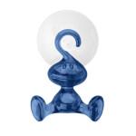 Koziol Wandhaken MORITZ, Kunststoff, kleines Männchen m. Saugnapf, leichte Montage, spülmaschinengeeignet, Doppelhaken für Handtücher/Badezimmer, blau
