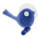 Koziol Wandhaken [pi:p], Kunststoff, Vogelmotiv, mit Saugnapf, leichte Montage, spülmaschinengeeignet, Haken für Handtücher/Badezimmer, blau