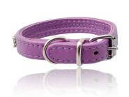 Lammleder Hunde-Halsband in violett mit weißem Swarovski Straß, 40 cm