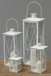 Laterne, Windlicht Farol 4er-Set in weiß aus Eisen/Glas, Höhe ca. 23 cm, 36 cm, 50 cm und 70 cm