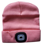 LED Mütze in rosa, 4 helle LEDs, 3 Lichtstärken einstellbar, aufladbar, USB Anschluss, waschbar, Größe: One Size