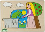 LENA Holzpuzzle Froschkönig, Puzzlespiel, Motivpuzzle, Kinderpuzzle, 19,5 x 2,3 x 29,2 cm, Holz, bunt