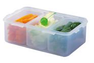 Lock & Lock Frischhaltedose, Vorratsbox, Vorratsdose 1,0 Liter, rechteckig mit 3 Innenboxen, Kunststoff transparent, 205 x 134 x 69 mm