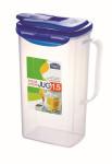 3 Stück Lock & Lock Saftkrug, Karaffe, Saftbehälter, Kunststoff transparent 1,5 Liter, 155 x 93 x 225 mm, Set by Danto®