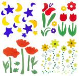 MagicGel 4er Set Fensterbilder mittel, Blumenzauber, 2 Tulpen mit Schmetterling, Mond und Sterne, Klatschmohn